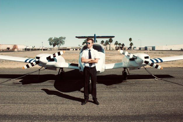 Dieter in front of a plane