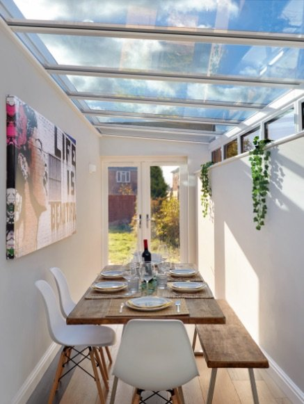 dining space with glass roof