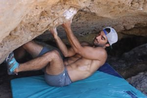 Francisco in rock climbing training